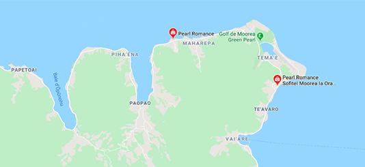 Localisation des boutiques de Pearl Romance à Moorea